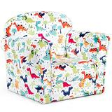 HONEY JOY Children Sofa, Dinosaur Patterned Toddler Armchair with High Back, High-Resilience Sponge, Portable Mini Couch Chair for Boys and Girls Aged 1-3 (Single Sofa)