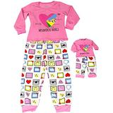 Girl and Doll Matching Pajama Clothes Fits American Girl Dolls & Other 18 inches Dolls (Size 10 Girl + Doll Outfit) Pink