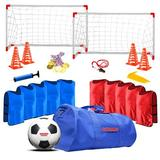 Champ Celebrations All-in-one Kid Soccer Set Plastic/Fabric in Blue, Size 7.5 H x 7.5 W x 30.5 D in   Wayfair CCPB01