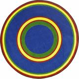Joy Carpets Geometric Tufted Dark Area Rug Nylon in Blue/Red, Size 64.0 W x 0.5 D in | Wayfair 1726H-05