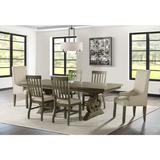 Stanford Standard Height 7PC Dining Set-Table, 4 Side Chairs & 2 Parson Chairs in Taupe & Grey - Picket House Furnishings DST300SP6PC