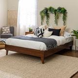 Solid Wood Queen Platform Bed in Walnut - Walker Edison BWQPLATWT