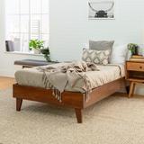 Solid Wood Twin Platform Bed in Walnut - Walker Edison BWTPLATWT