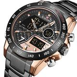 [Watches for Men ] NAVIFORCE 9171 Mens Watch - Business Fashion Luxury - Digital Quartz Dual Time Display - Casual Japanese Quartz Watches (05)
