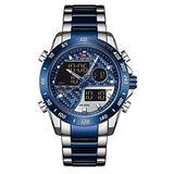 [Watches for Men ] NAVIFORCE 9171 Mens Watch - Business Fashion Luxury - Digital Quartz Dual Time Display - Casual Japanese Quartz Watches (03)