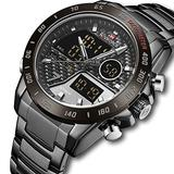[Watches for Men ] NAVIFORCE 9171 Mens Watch - Business Fashion Luxury - Digital Quartz Dual Time Display - Casual Japanese Quartz Watches (01)