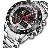 [Watches for Men ] NAVIFORCE 9171 Mens Watch - Business Fashion Luxury - Digital Quartz Dual Time Display - Casual Japanese Quartz Watches (04)