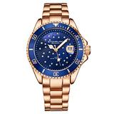 Stuhrling Original Womens Dive Watch - Sports Watch with Rose Gold Stainless Steel Link Bracelet Quartz Movement Analog Blue Watch Dial with Date Dress and Casual Design Ladies Watches Collection