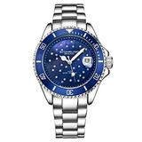 Stuhrling Original Womens Dive Watch - Sports Watch with Silver Stainless Steel Link Bracelet Quartz Movement Analog Blue Watch Dial with Date Dress and Casual Design Ladies Watches Collection