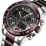 [Watches for Men ] NAVIFORCE 9171 Mens Watch - Business Fashion Luxury - Digital Quartz Dual Time Display - Casual Japanese Quartz Watches (02)