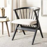 Mistana™ Artemis Slat Back Side Chair in BlackWood/Upholstered/Fabric in Black/Brown, Size 33.0 H x 21.0 W x 20.0 D in | Wayfair