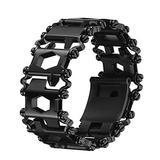 Multi Stainless Tool Bracelet for Men, 29 in 1Multitools Hiking Camping Travel Survival Friendly Wearable Multitool Tread Bracelet (Black)