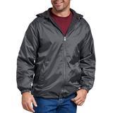 Dickies Men's Big & Tall Fleece Lined Hooded Nylon Jacket - Charcoal Gray Size 4Xl 4XL (33237)