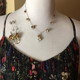Anthropologie Jewelry | Anthropologie Semi-Precious Necklace Earring $118 | Color: Cream/Gold | Size: Os