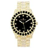 Bling-ed Out Round Metal Mens Color on Blast Silver Tone Watch with Diamond Time Indicators - Ice on Fire!!! - ST10327DxxS (Color Black Panther Gold)