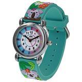 Relda Girl's-Children Time Teacher 3D Koala Bear Silicone Strap Watch + Telling The Time Award