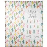 Harriet Bee Giana Colorful Cacti Personalized Milestone Blanket Polyester in Orange, Size 60.0 H x 50.0 W in   Wayfair