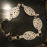 Levi's Accessories | 5 For $25white Leather Metal Studded Belt | Color: Silver/White | Size: 42