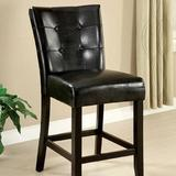 Latitude Run® Beulaville Tufted Upholstered Windsor Back Dining Chair in BlackFaux Leather/Upholstered in Black/Brown | Wayfair