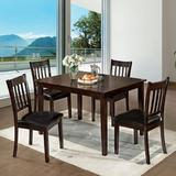Red Barrel Studio® Cargill 5 - Piece Counter Height Solid Wood Dining SetWood/Upholstered Chairs in Brown | Wayfair