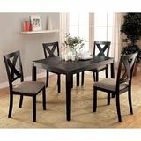 Red Barrel Studio® Cardin 5 - Piece Counter Height Solid Wood Dining Set Wood/Upholstered Chairs in Black/Brown, Size 38.75 H x 48.0 W x 36.0 D in