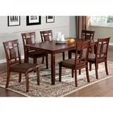 Red Barrel Studio® Carder 7 - Piece Counter Height Solid Wood Dining Set Wood/Upholstered Chairs in Brown | Wayfair