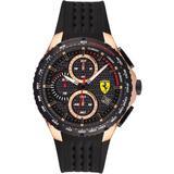 Chronograph Pista Black Silicone Strap Watch 44mm - Black - Ferrari Watches