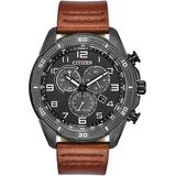 Ltr Brown Leather Strap Watch 45mm - Brown - Citizen Watches