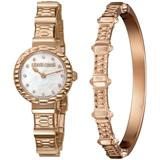 Diamond Swiss Quartz Rose-tone Stainless Steel Bracelet Watch & Bracelet Gift Set, 26mm - Metallic - Roberto Cavalli Watches