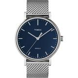 Fairfield 41mm Stainless Steel Mesh Band Watch Silver-tone/stainless Steel/blue - Metallic - Timex Watches