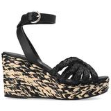 Braided Wedge Sandals - Black - Prada Heels