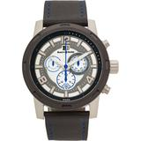 Chronograph Watch Black Leather Strap, Blue Stitching, White/grey Dial, Silver Case, 46mm - Black - Buech & Boilat Watches