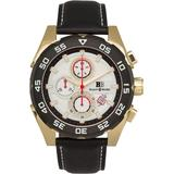 Chronograph Watch Black Leather Strap, Silver Dial, 44mm - Black - Buech & Boilat Watches