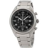 Black Dial Mens Chronograph Watch - Metallic - Seiko Watches