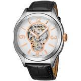 Prestige White Skeleton Dial Automatic Mens Leather Watch - Metallic - Philip Stein Watches