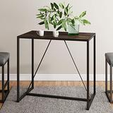 Nathan James Nelson Industrial Counter Height Dining Table for 2 Small Spaces Modern Kitchen or Pub in Brown with Black Metal Legs, Nutmeg
