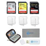 SanDisk Memory Card Kit - 16GB SD Ultra, 32GB SDHC Extreme, 64GB SDXC Extreme Pro Bundle with Memory Card Wallet, 3 Cases, Everything But Stromboli SD Card Reader & Micro Fiber Cloth