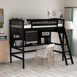Loft Bed with Desk, Loft Bed for Kids and Teenagers, Twin Size (Espresso)