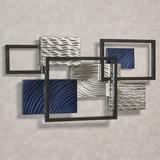 Framed Array III Metal Wall Sculpture Blue , Blue