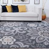 Piper Dark Gray 8x10 Rectangle Area Rug for Living, Bedroom, or Dining Room - Transitional, Floral