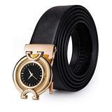 Dubulle Gold Cool Buckle Belts for Men, Autoamtic Buckle Genuine Leather Dress Jeans Watch Design Belt
