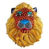 Hand-painted wall sculpture, 'Head of a Lion'