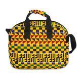 Cotton laptop bag, 'Kente Voyage'