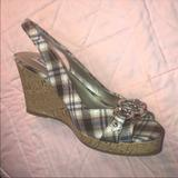 American Eagle Outfitters Shoes   Aeo Platform Wedge Heel Plaid Peep Toe   Color: Brown/Tan   Size: 8.5