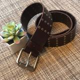 American Eagle Outfitters Accessories | American Eagle Studded Leather Belt Studs Grommet | Color: Brown/Silver | Size: Medium