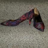 Nine West Shoes | Brand New Floral Print Nine West Kitten Heel | Color: Green/Purple/Red | Size: 8