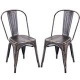 Gracie Oaks Blizzard Slat Back Stacking Side Chair Metal in Black, Size 32.4 H x 17.1 W x 17.4 D in | Wayfair DA144106160247428D335F6A62D03E41