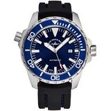 Zeno Men's Automatic Divers Stainless Steel Luxury Watch - 48mm Blue Dial, Antireflective Sapphire Crystal, Luminous Hands and Date - Black Rubber Strap Swiss Made Classic Mens Watch 6603-2824-A4