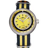 Zeno Men's Automatic Divers Stainless Steel Luxury Watch - 47mm Yellow Dial, Tachymeter, Luminous Hands and Date - Black/Yellow Fabric Strap Swiss Made Classic Mens Watch 500-2824-I9