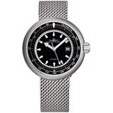 Zeno Men's Automatic Divers Stainless Steel Luxury Watch - 47mm Black Dial, Tachymeter, Luminous Hands and Date - Stainless Steel Mesh Bracelet Swiss Made Classic Mens Watch 500-2824-I1M